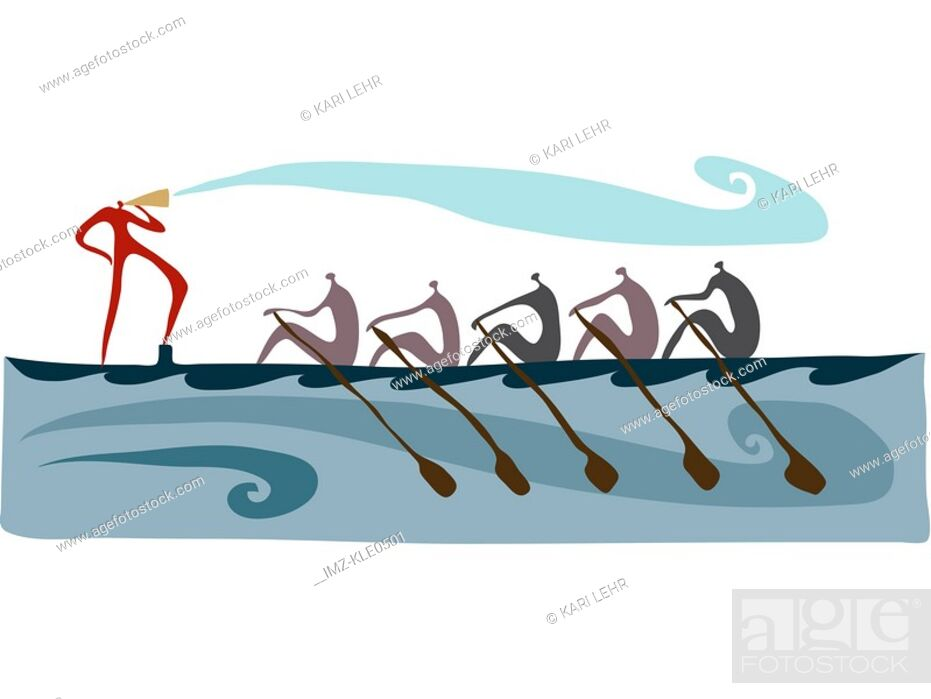 Stock Photo: A person calling while others row a long boat.
