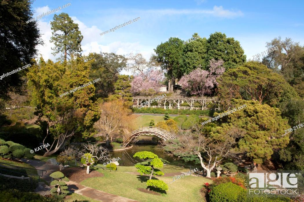 Stock Photo: Springtime in the Japanese Gardens at Huntington Gardens and Library, San Marino, California, USA.