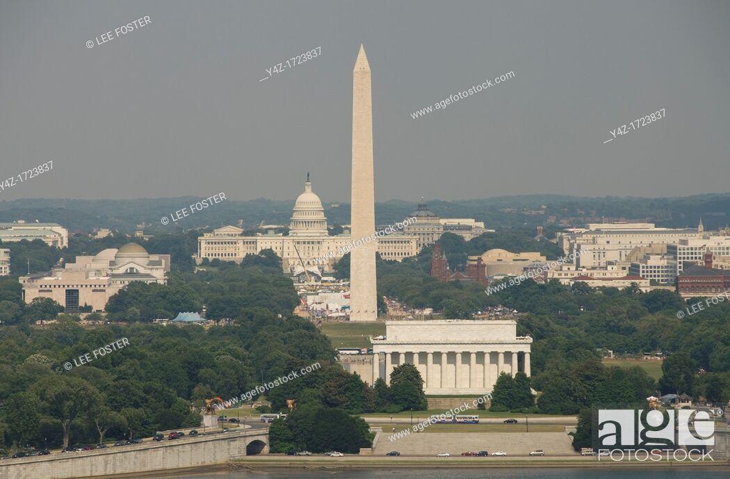 Stock Photo: Washington DC USA, the Washington Monument, Lincoln Memorial, and Capitol, as seen from Arlington, VA.