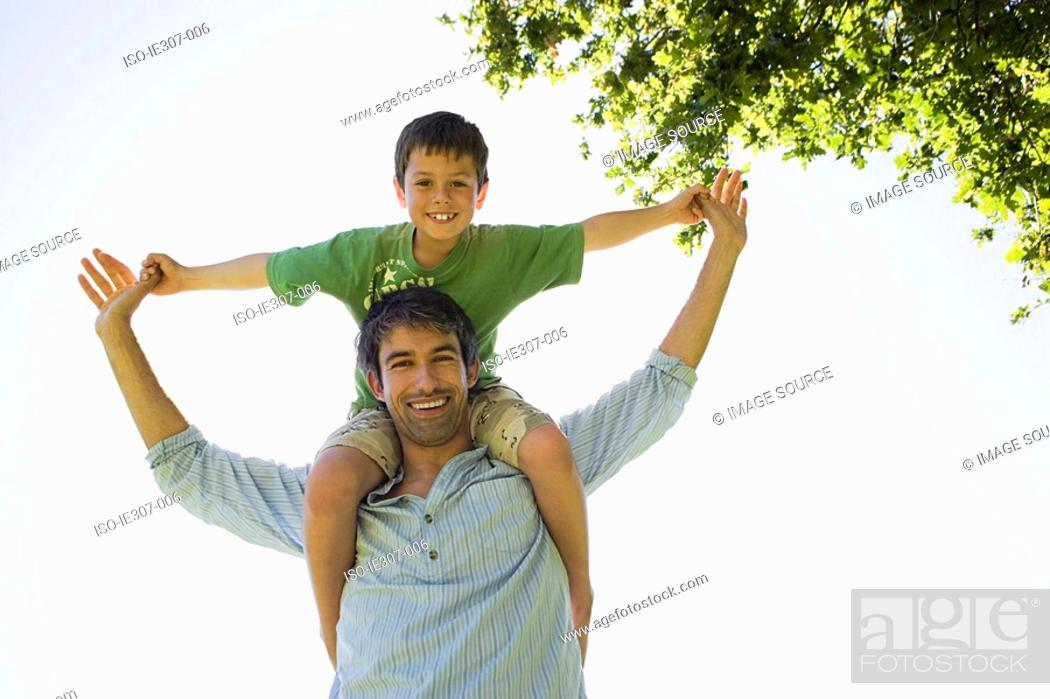 Stock Photo: Portrait of a father and son.
