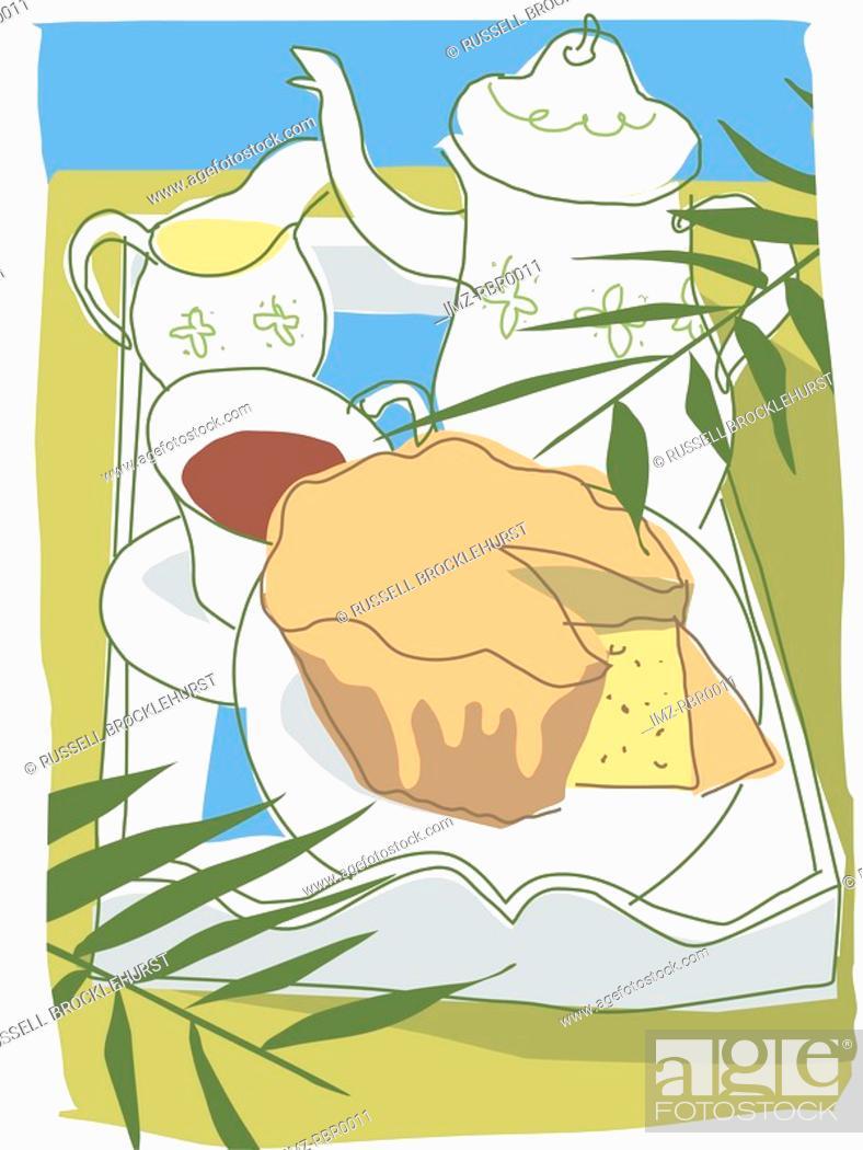 Stock Photo: tea and cake.