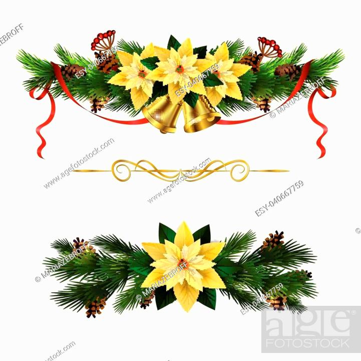Stock Vector: Christmas decoration set with evergreen treess holly and poinsettia isolated.