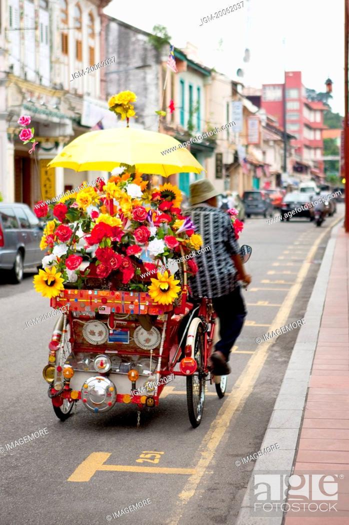 Stock Photo: Malaysia, Melaka State, Jonker Street, Rickshaw.