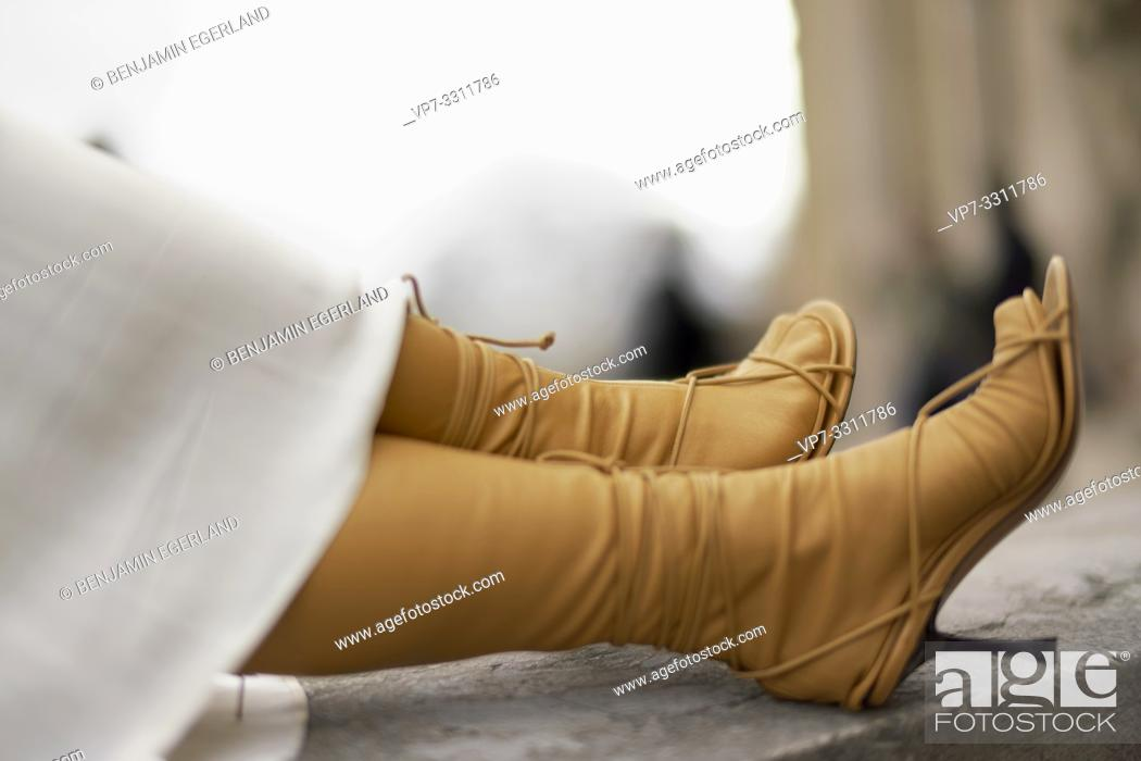 Stock Photo: shoes of fashionable blogger woman, in city Paris, France.