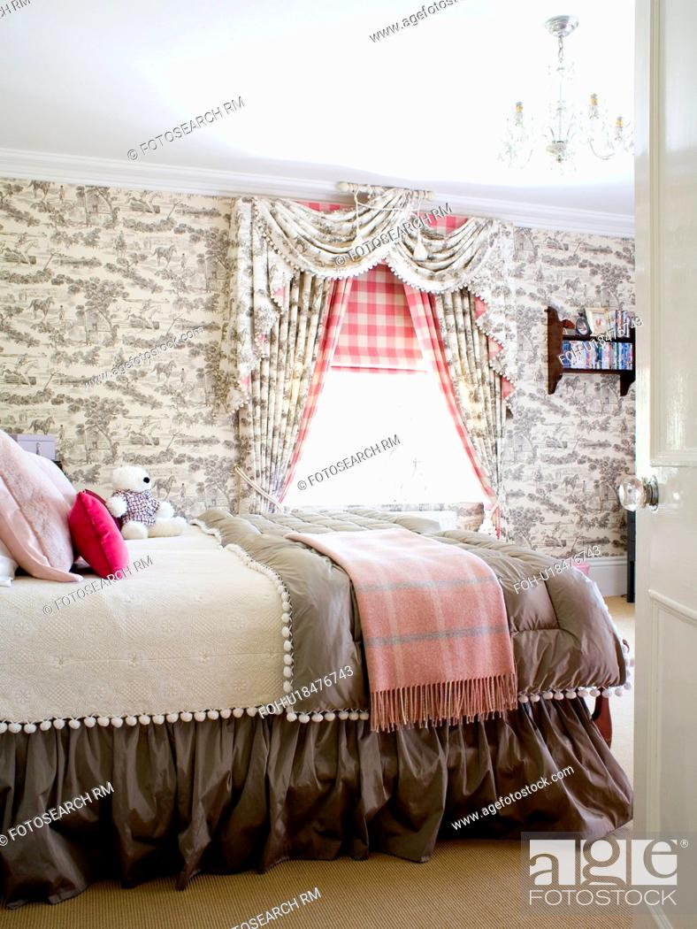 Grey Toile De Jouy Wallpaper And Curtains In Country Bedroom With Checked Blanket And Grey Quilt On Stock Photo Picture And Rights Managed Image Pic Foh U18476743 Agefotostock