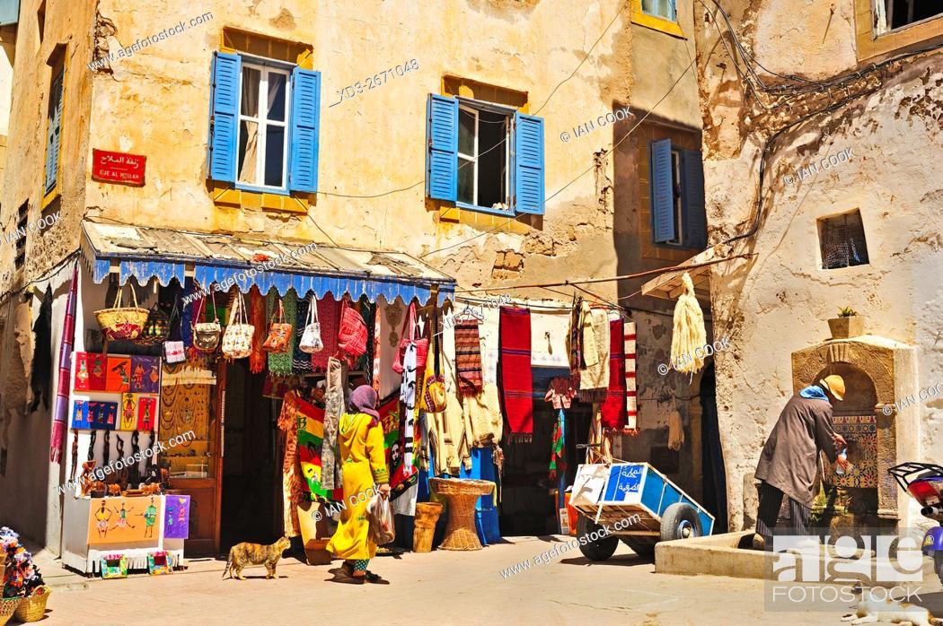 Stock Photo: street scene, Rue Al Mellah, Medina, Essaouira, Morocco.