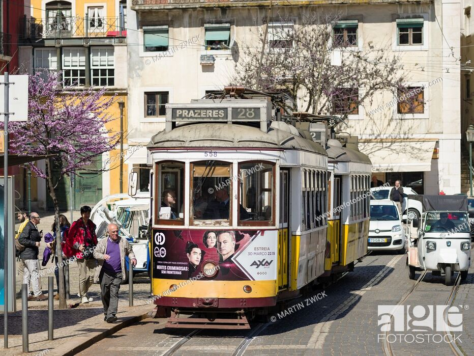 Stock Photo: The traditional tramway in the Alfama, an icon of Lisbon. Lisbon (Lisboa) the capital of Portugal. Europe, Southern Europe, Portugal, March.