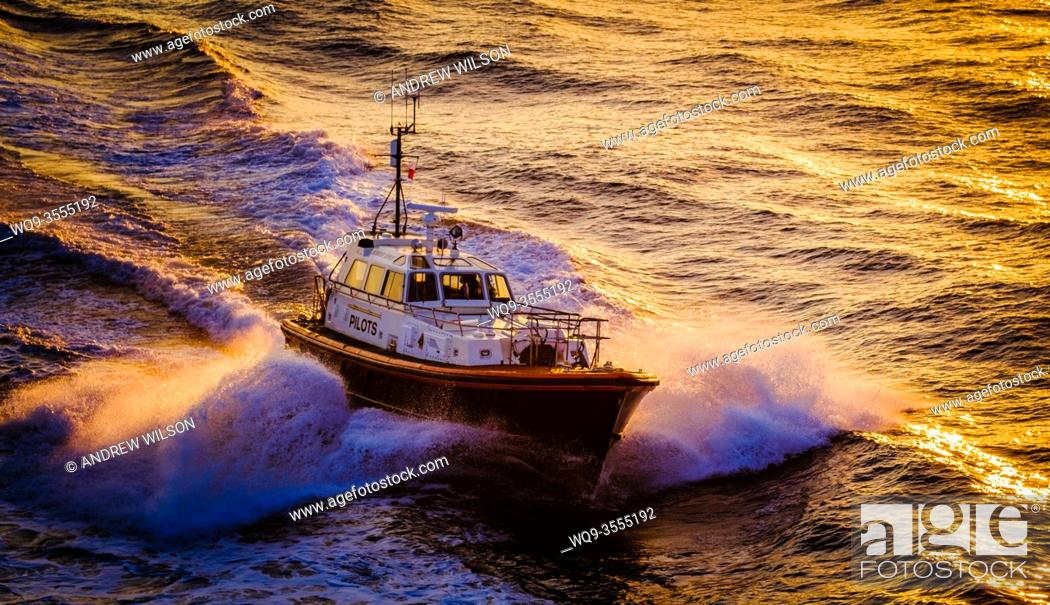 "Stock Photo: The Pilot Cutter """"Humber Venus"""" in the Humber estuary, England, UK in evening light."