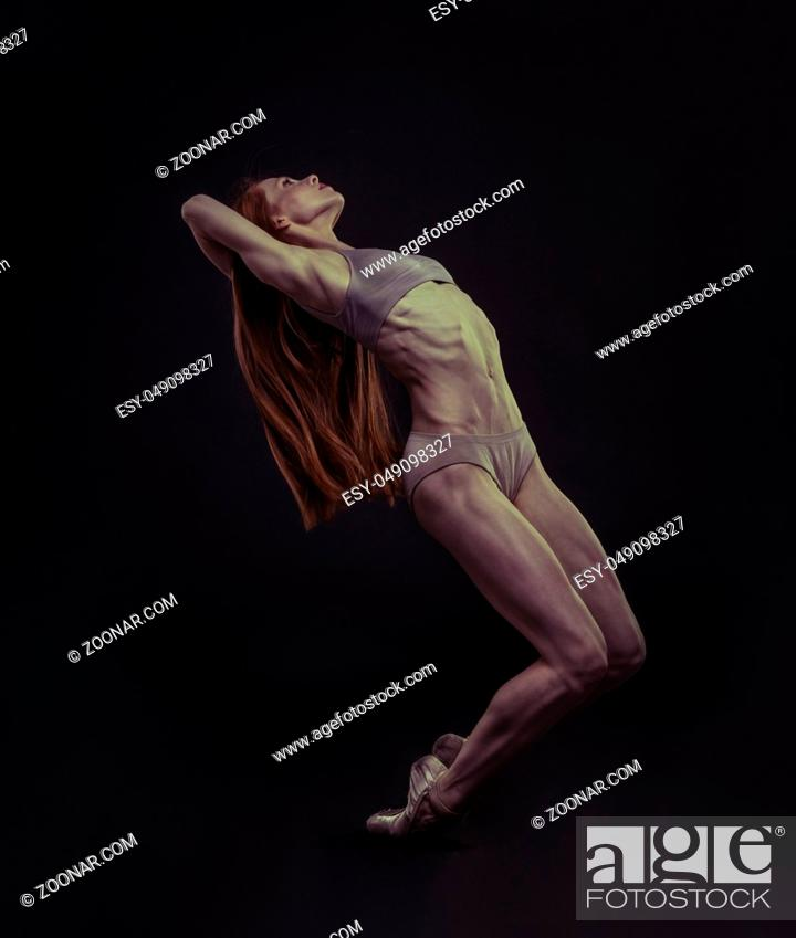 Stock Photo: Ballerina, elegance and beauty of a ballet dancer model with great musculature and beautiful body.