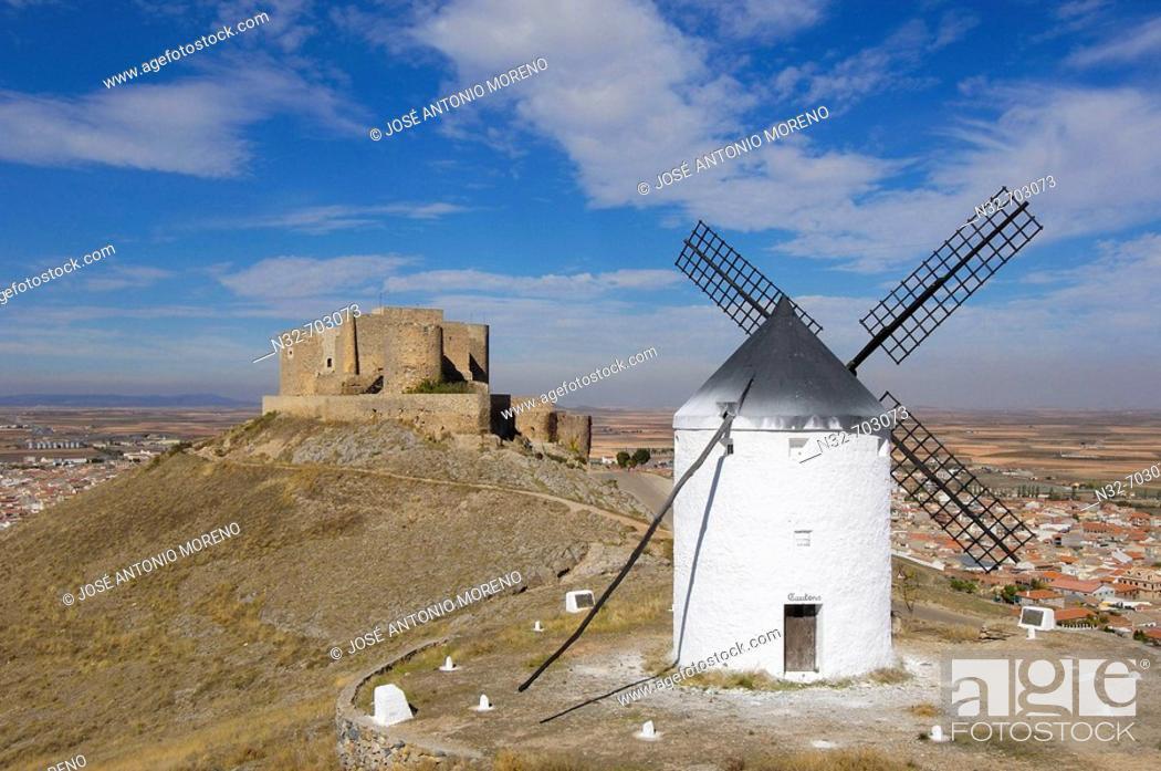 Stock Photo: Windmill and Caballeros de San Juan de Jerusalén Castle (12nd century) . Consuegra. Toledo province. Route of Don Quixote. Castilla-La Mancha. Spain.
