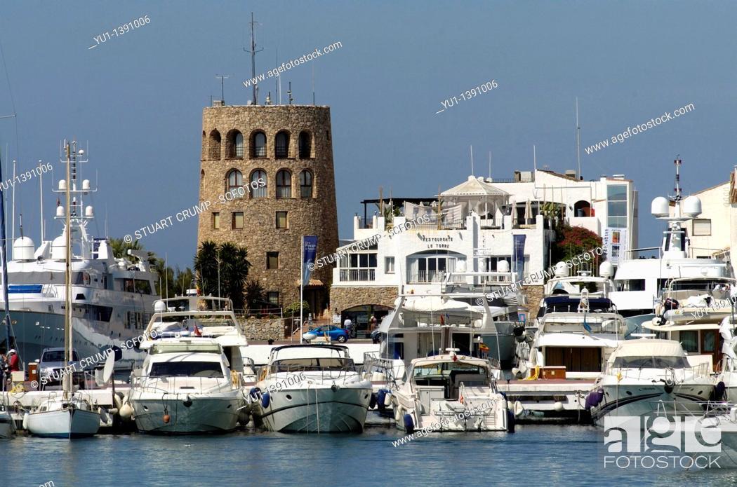 Stock Photo: Round Control Tower overlooking Puerto Banus Marina, Puerto Banus, Costa Del Sol, Andalucia, Spain, Europe.