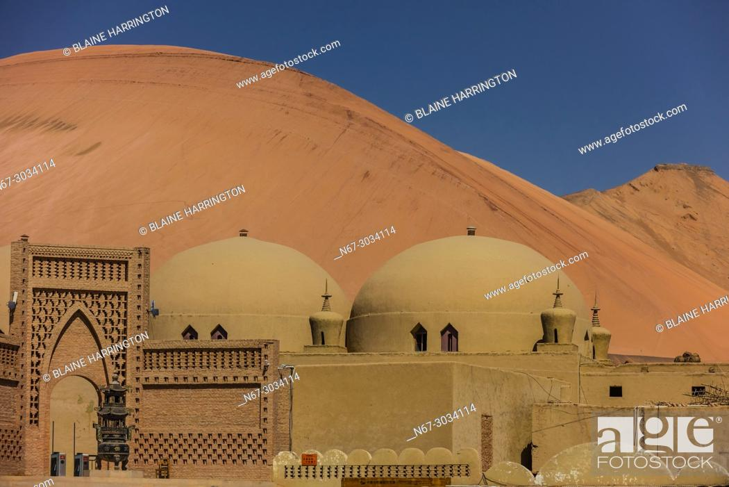 "Stock Photo: Adobe (mudbrick) architecture built for the movie """"Journey to the West"""" near the Bezeklik Thousand Buddha Caves, Flaming Mountains, Turpan, Xinjiang Province."