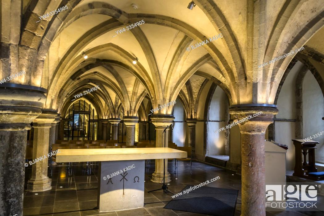 Stock Photo: Crypt with typical Romanesque groin vaulting, Rochester Cathedral, Kent, England, UK.