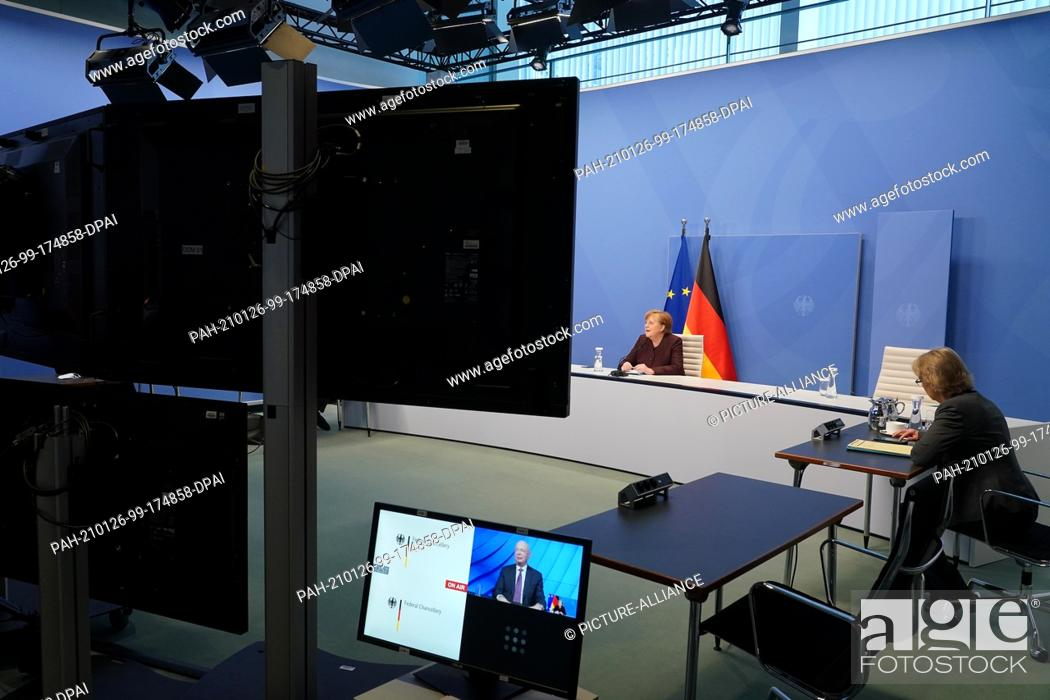 Imagen: 26 January 2021, Berlin: German Chancellor Angela Merkel virtually participates in a video conference of the World Economic Forum from the Chancellery.