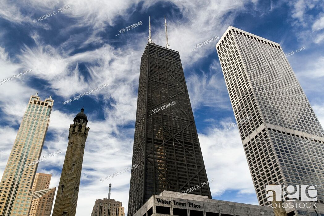 Stock Photo: Chicago Water Tower, John Hancock Center, and other skyscrapers in Chicago, Illinois, United States.