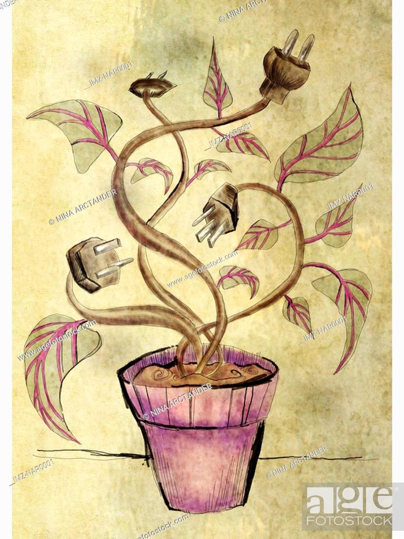 Stock Photo: A potted plant with plugs for flowers.