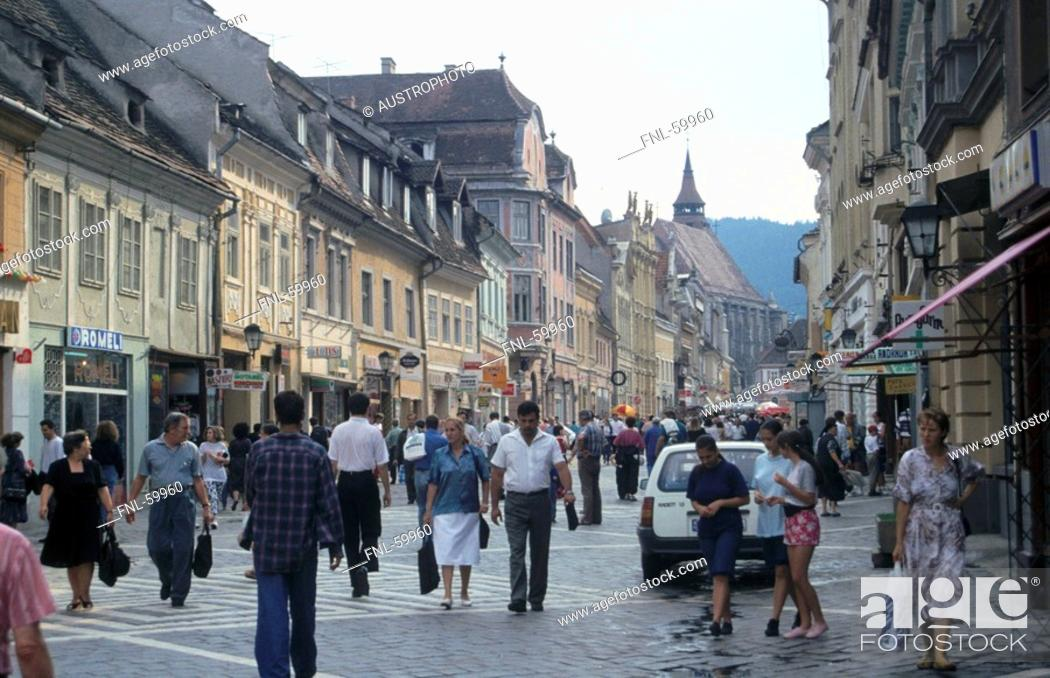 Large Group Of People At Market Place Romania Europe Stock Photo