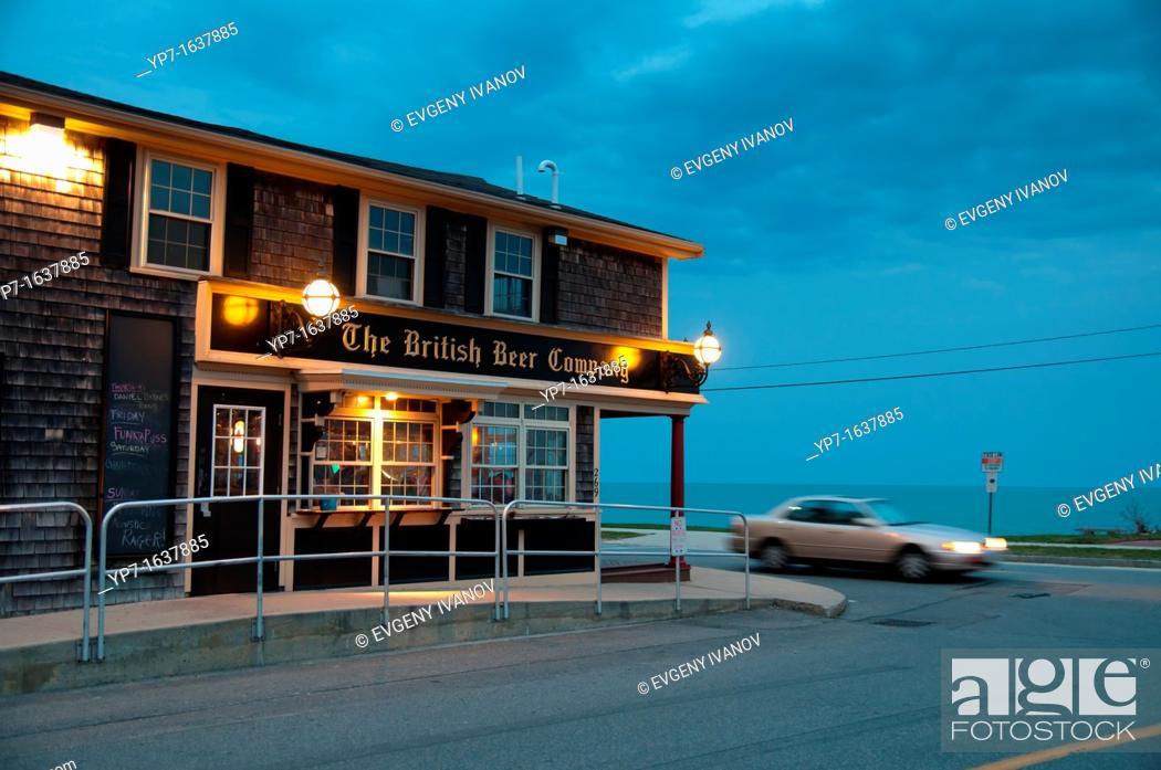 Stock Photo: Falmouth Heights beach and British Beer Company at dusk, Cape Cod.