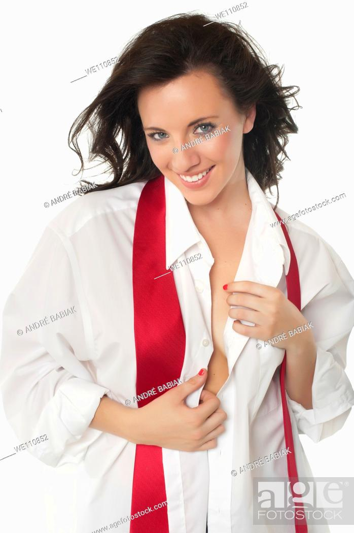 Stock Photo: Sexy girl in men's shirt with red tie.
