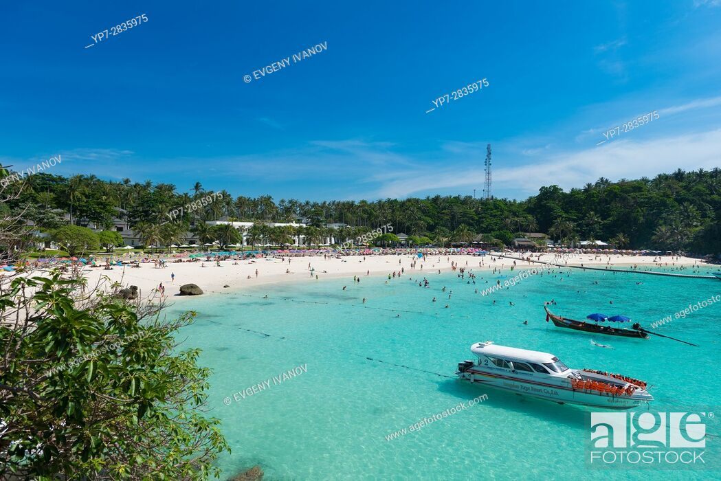 Stock Photo: Panorama of the Patok bay from Raya resort viewpoint, Raya island, Thailand.