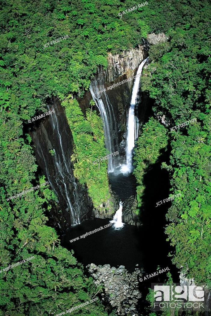 Stock Photo: Reunion, waterfall, aerial view.