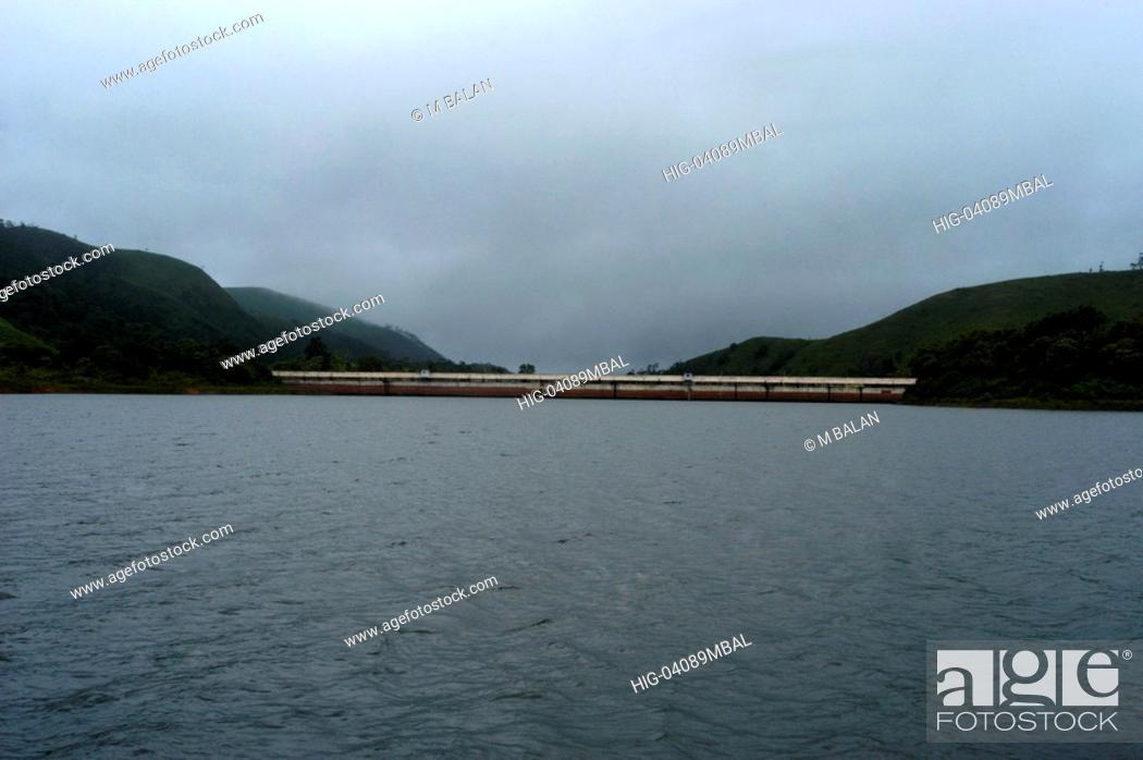 Stock Photo: MULLAPERIYAR DAM OF PERIYAR RIVER IN PERIYAR TIGER RESERVE THEKKADY.