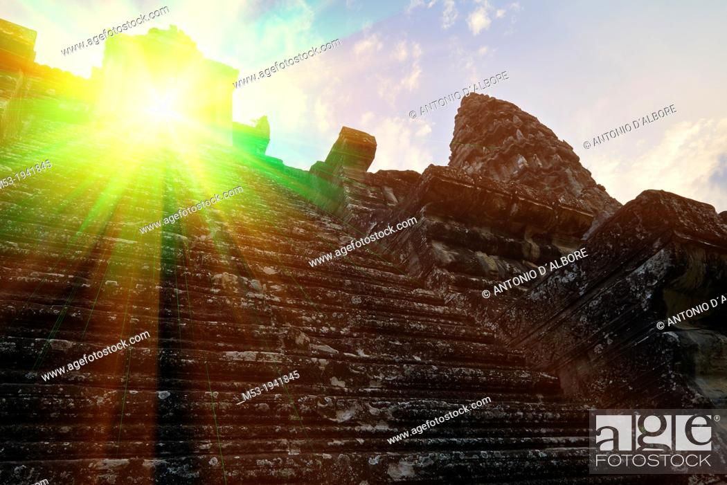 Stock Photo: Misterious energy rays generated from a spooky doorway.