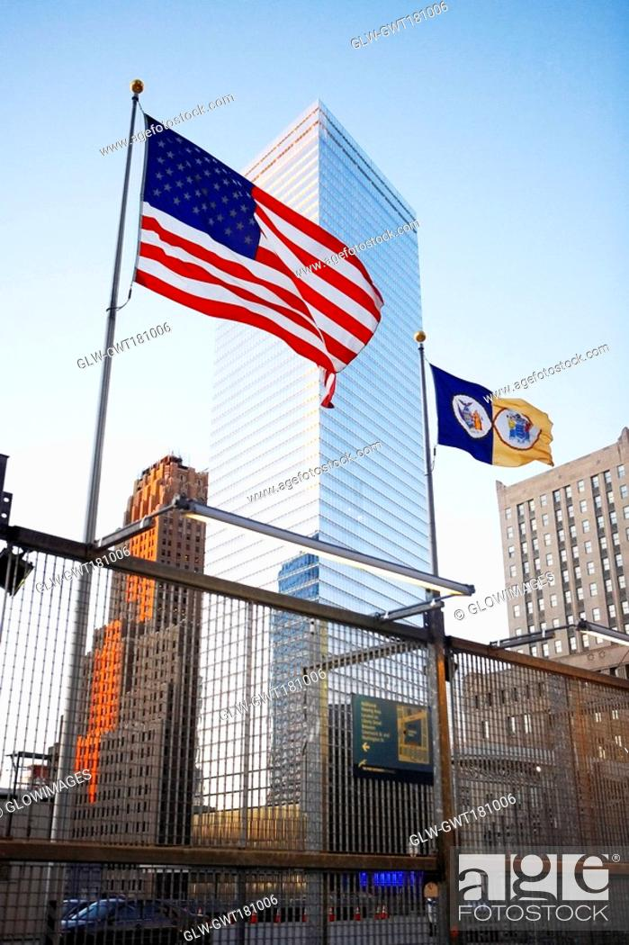 Stock Photo: Low angle view of buildings, World Trade Center, Manhattan, New York City, New York State, USA.