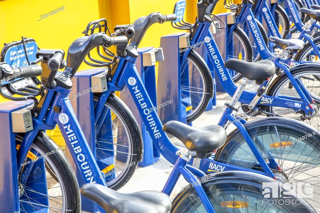 Stock Photo: Bike Share bicycles in Melbourne city centre, Victoria, Australia.
