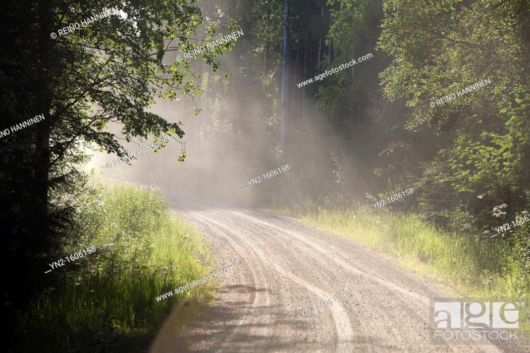 Stock Photo: Dust flying over dry dirt road  Location Suonenjoki Finland Scandinavia Europe.