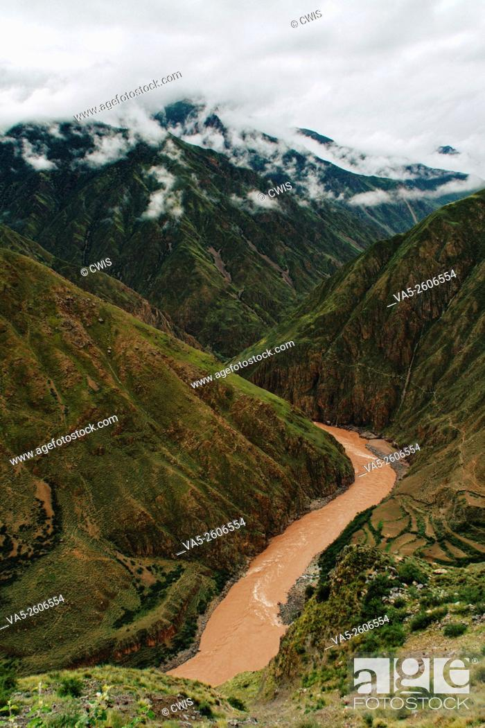Stock Photo: The view of Lancang river valley in Tibet.