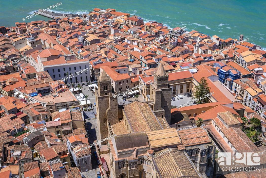 Stock Photo: Cathedral on the historic part of Cefalu loctaed on the Tyrrhenian coast on Sicily Island, Italy - view from Rocca di Cefalu massif.