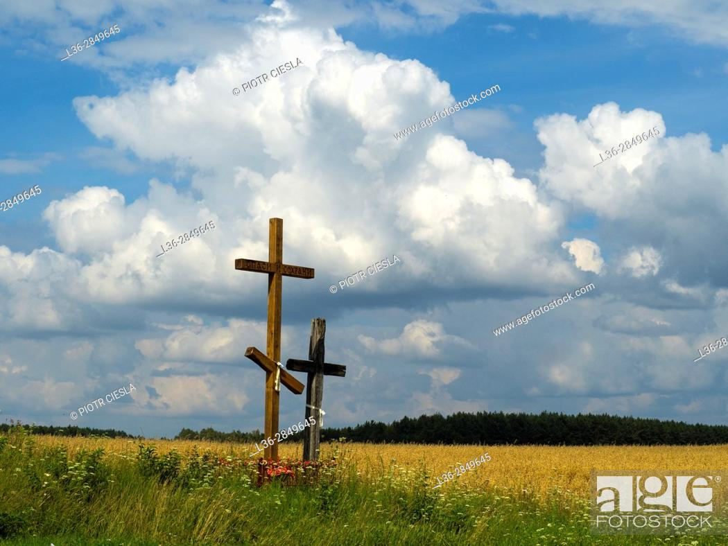 Stock Photo: Poland, Podlasie region, old and new cross. Typical in the eastern part of Poland.