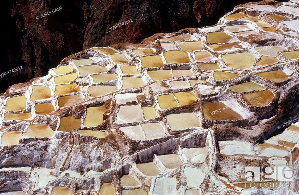 Stock Photo: Pre-columbian salt-mine of Marás  Urubamba valley  Perú.