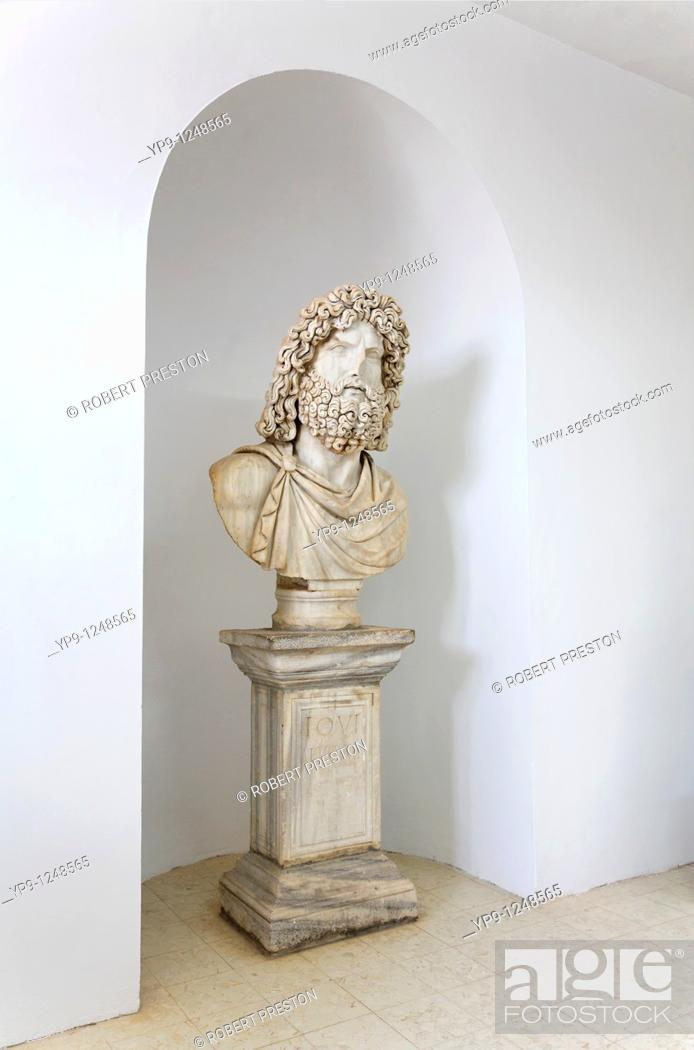 Stock Photo: Sculpture of Jupiter, originally from the temple of Jupiter, now in the Sabratha site museum, Libya.