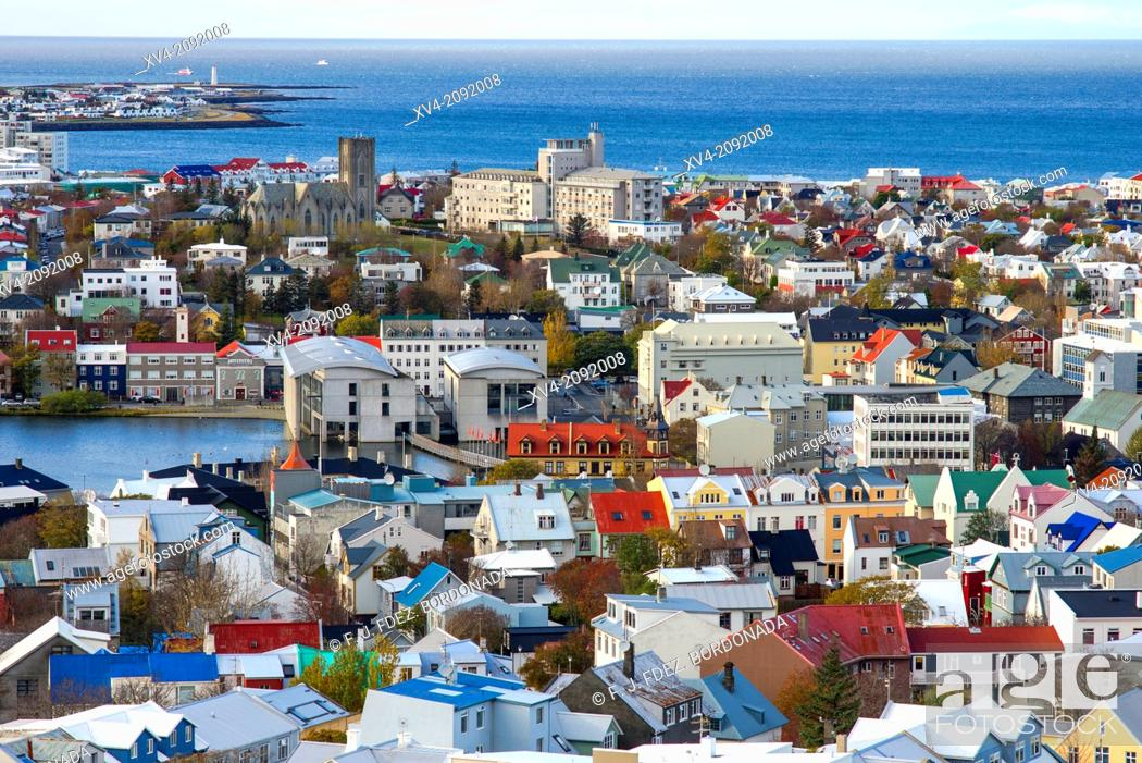 Stock Photo: Aerieal views of Reykjavik city centre from Hallgrimskirkja Cathedral tower view point, Reykjavik, Iceland.