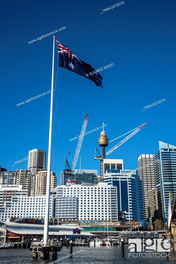 Stock Photo: Australian flag, Darling Harbour, Sydney, Australia.