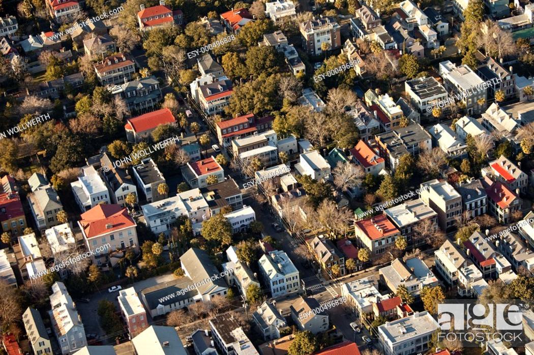Stock Photo: aerial view of charleston south carolina usa.