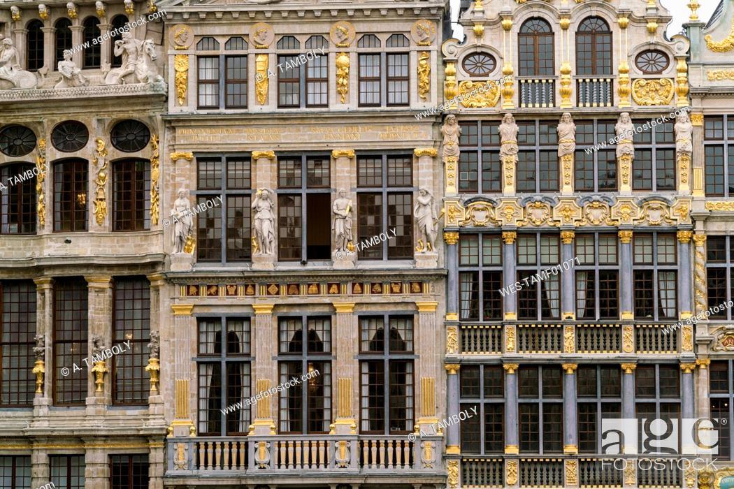 Stock Photo: Belgium, Brussels, Grote Markt, part of facades.