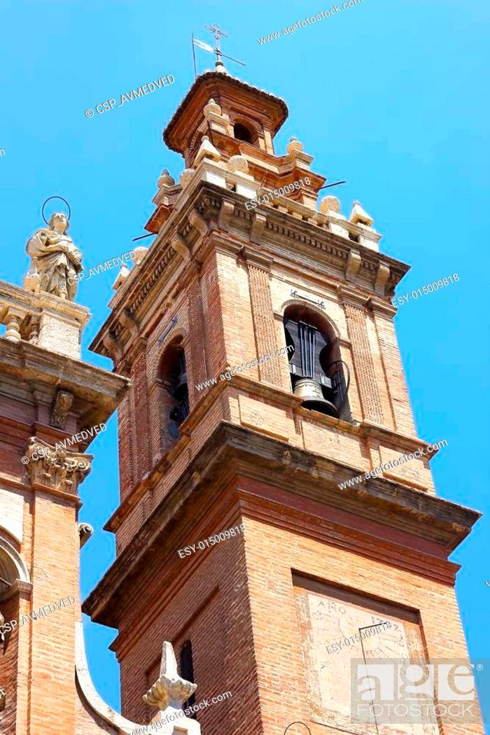 """Stock Photo: Bell Tower of the church is known as """"The Congregation"""" in Valencia, Spain. Inglesia de Santo Tomas y San Filipe Neri (""""The Congregation"""") in Valencia."""