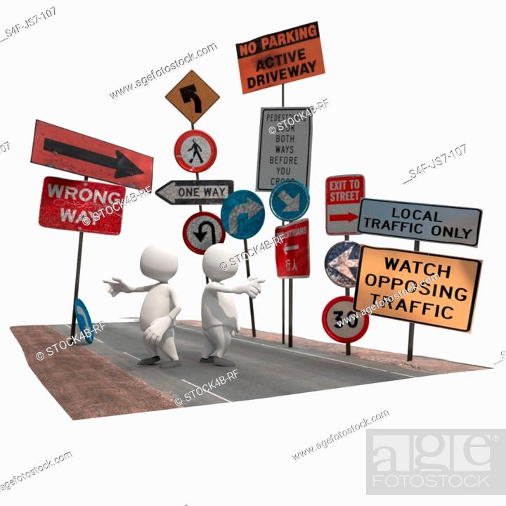 Stock Photo: Two anthropomorphic figures surrounded by road signs , CGI.