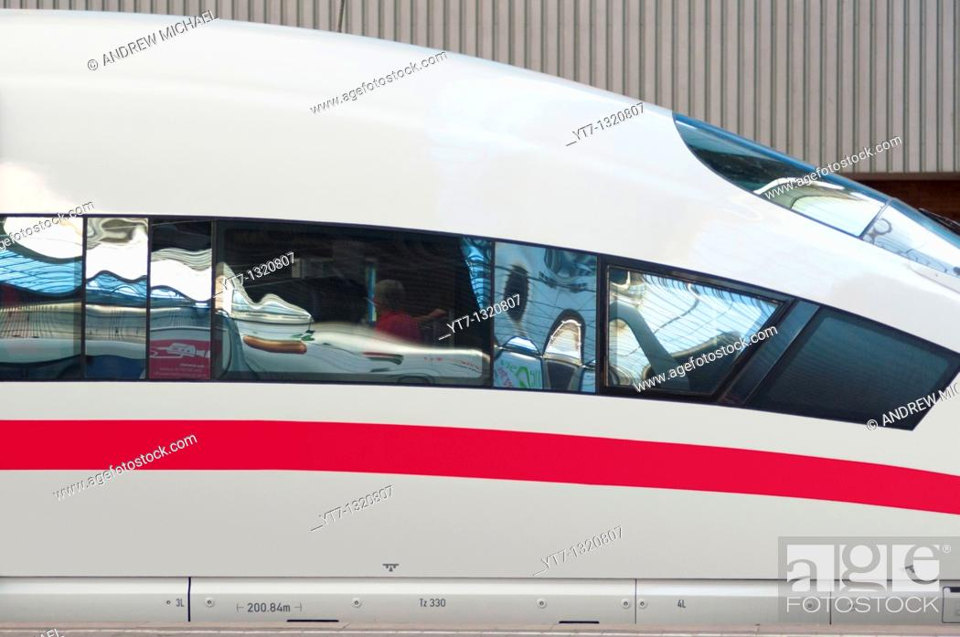 Stock Photo: ICE, Germany's high speed intercity express train at Munich train station  Germany.