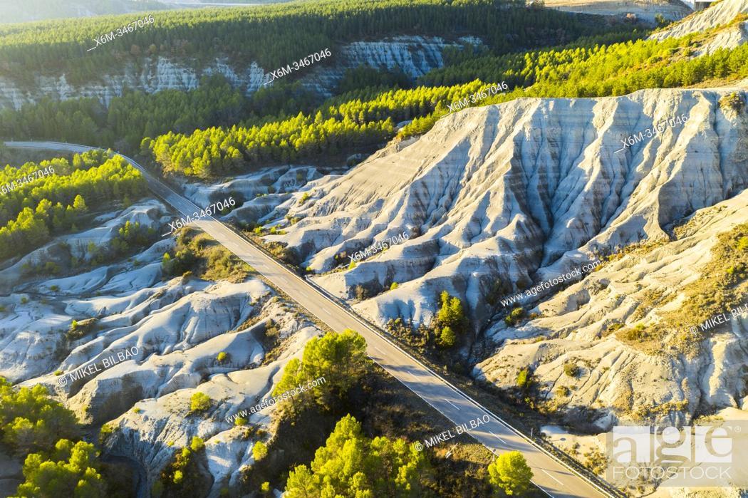 Stock Photo: Aerial view of a road in badlands. Yesa reservoir. Saragossa, Aragon, Spain. Europe.