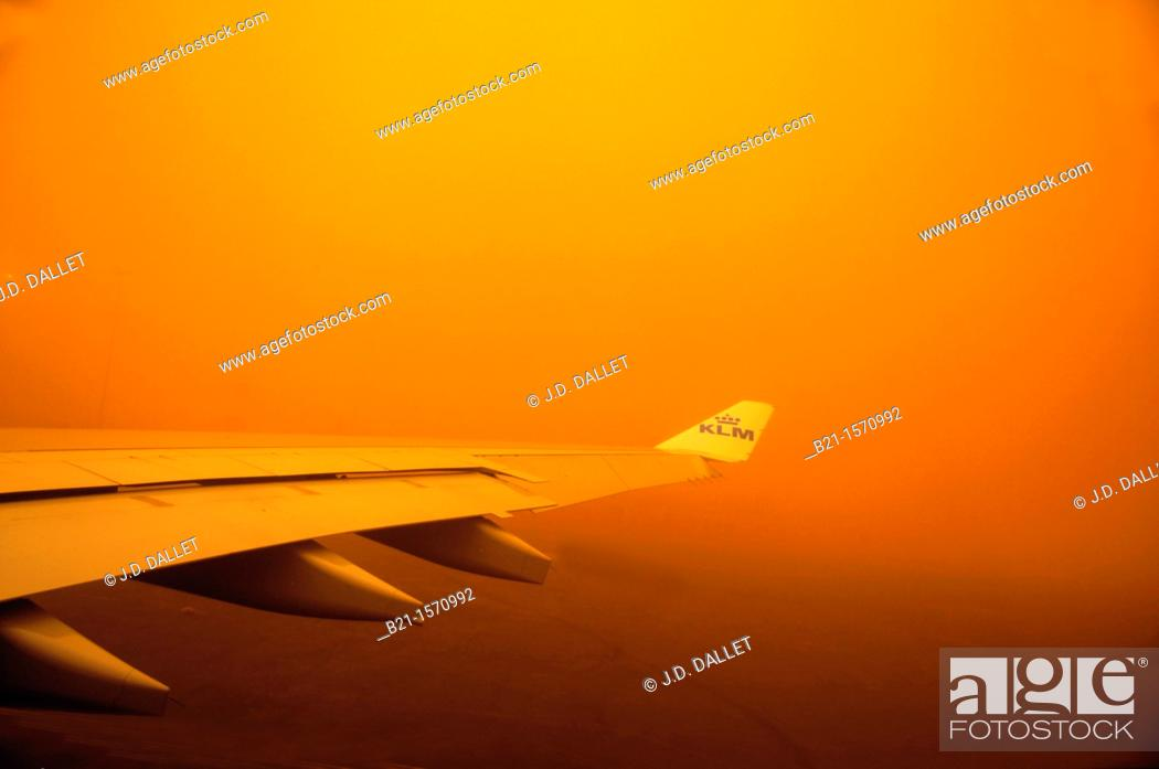 Stock Photo: Sand storm over the Khartum airport, Sudan.