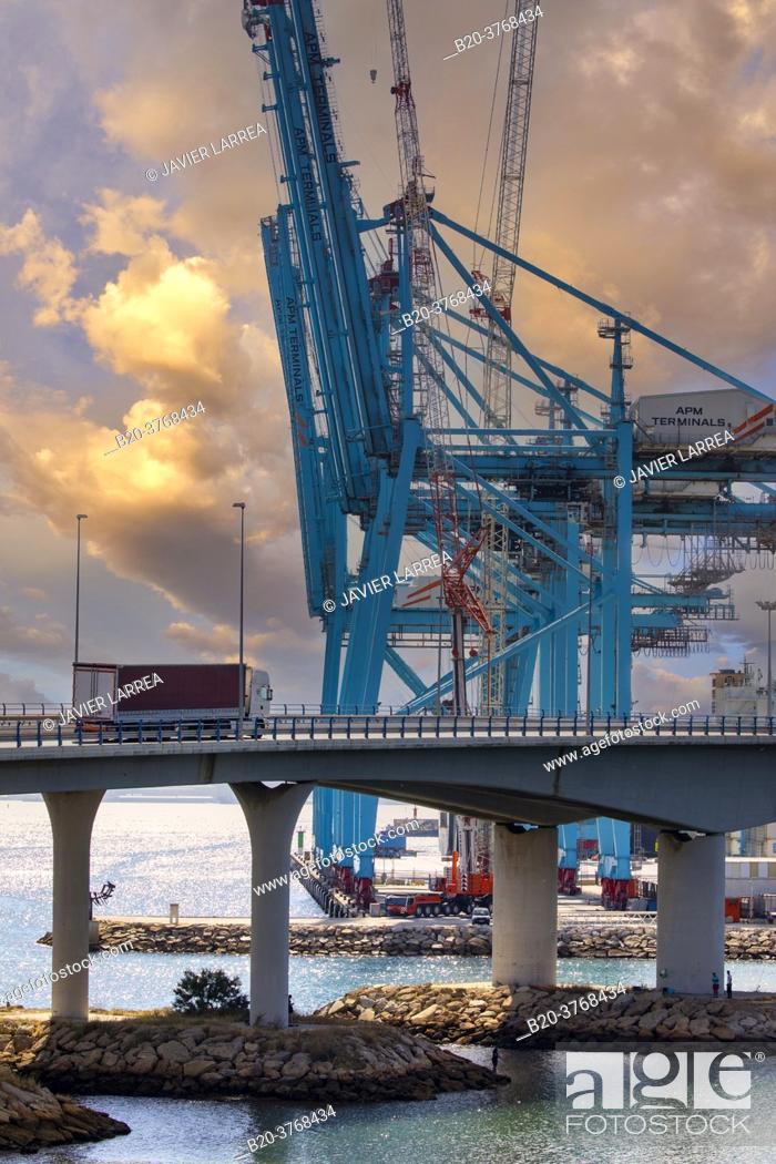 Stock Photo: Commercial Port of Algeciras, Cádiz, Andalucia, Spain, Europe.