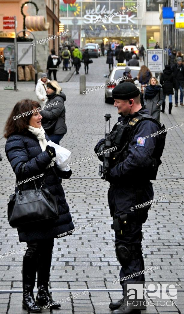 Stock Photo: Heavily armed policemen patrol in Brno, Czech Republic, on Wednesday, December 21, 2016, after a truck ran into the crowded market on Monday and killed several.