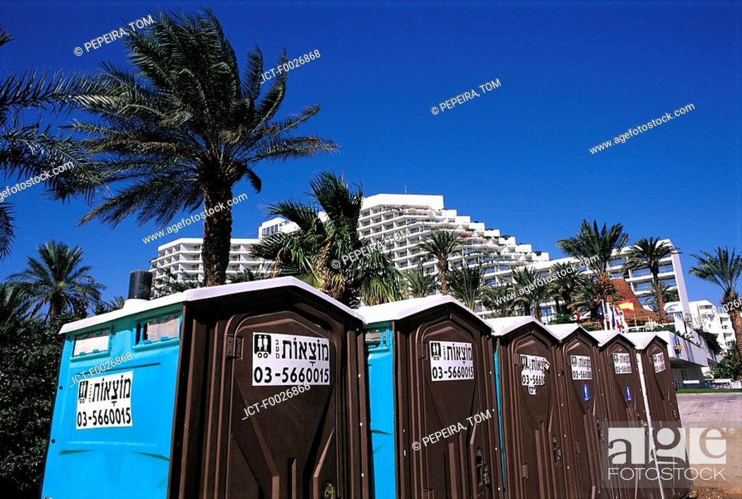 Stock Photo: Israel, Eilat, toilet cubicles on the beach.