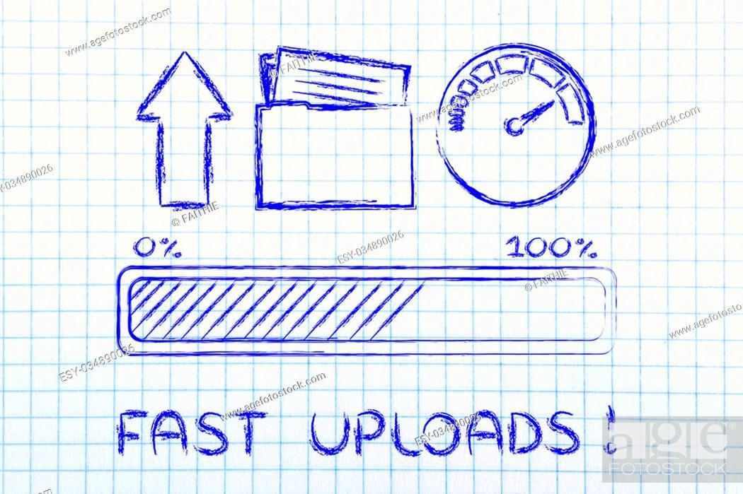 Stock Photo: upload transfer speed: speedometer and progress bar.