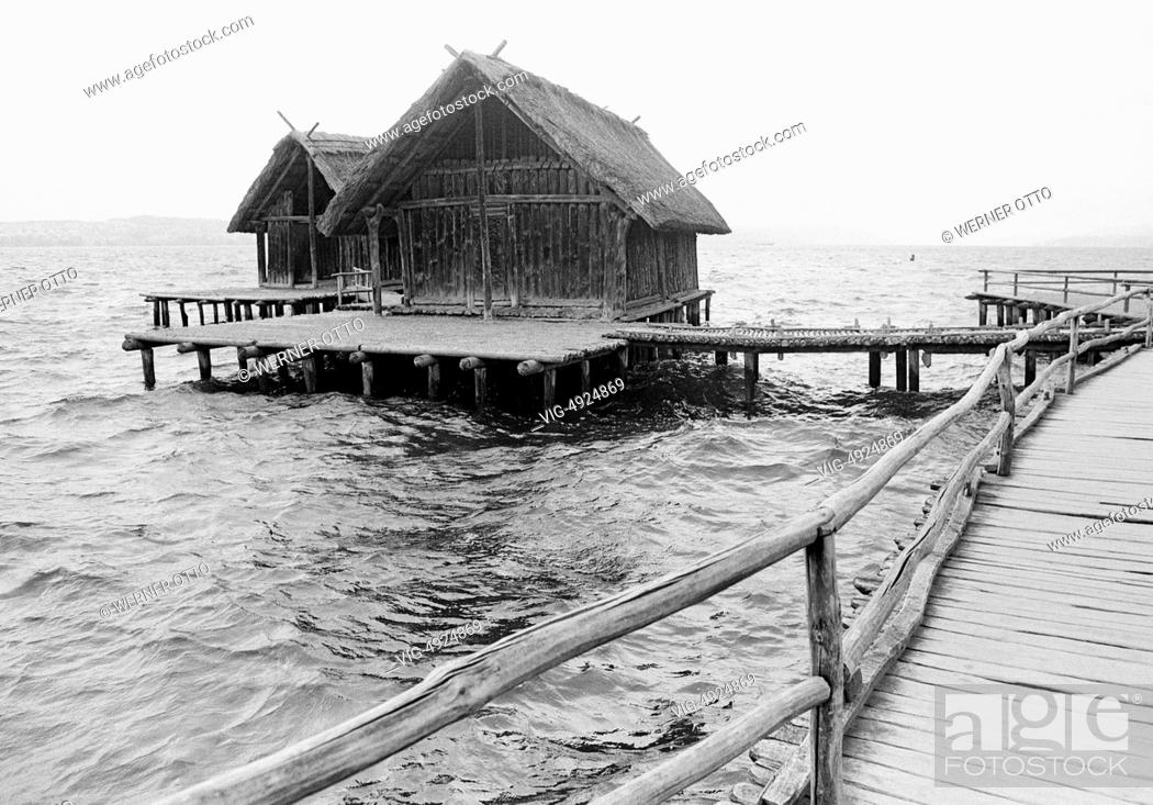 Stock Photo: Eighties, D-Uhldingen-Muehlhofen, Lake Constance, Baden-Wuerttemberg, Stilt House Museum Unteruhldingen, archaeological open-air museum.