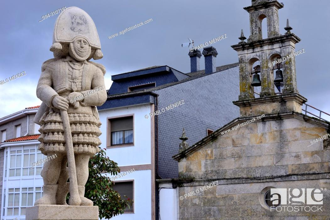 Stock Photo: Church and sculpture of a Felo in Maceda, Orense, Spain.